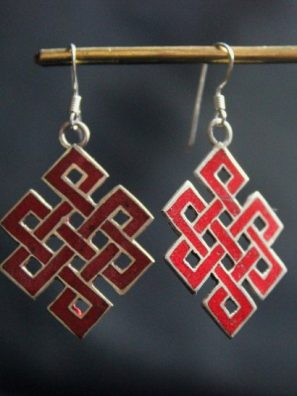 Tibetan Silver Jewelry - Love knot earrings