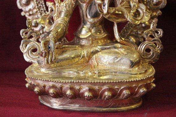 white tara 10 inches with parwa full gold lotus base