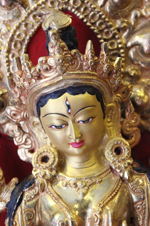 white tara statue 10 inches with parwa full gold face