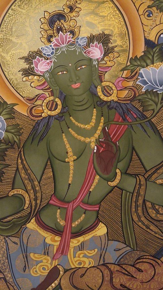Green tara thangka painting body