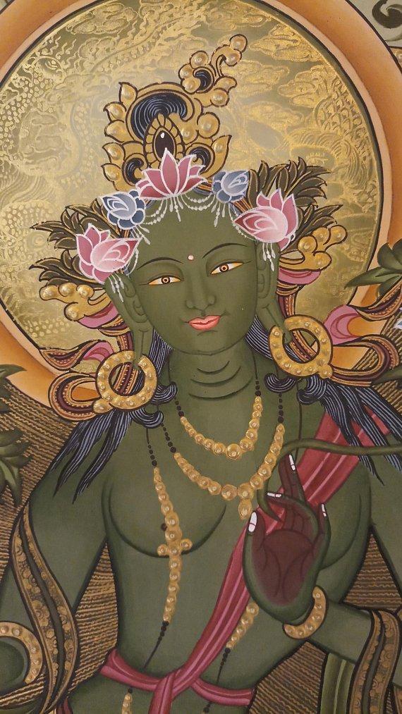 Green tara thangka painting face
