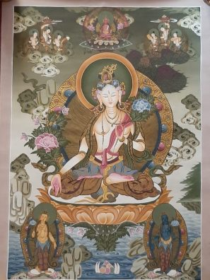 White Goddess Tara Tibetan Thangka Painting for house warming