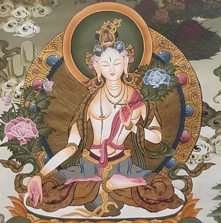 White Goddess Tara Tibetan Thangka Painting for house warming zoom