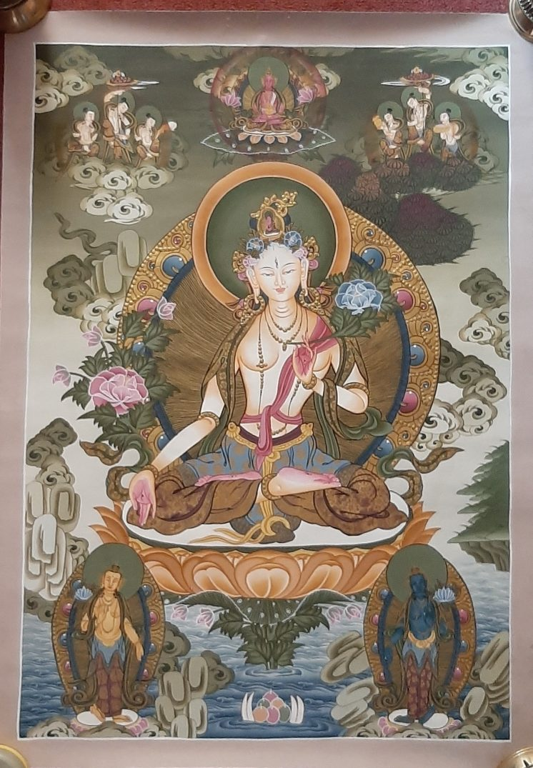 White Tara Tibetan Thangka Painting for house warming - Copy