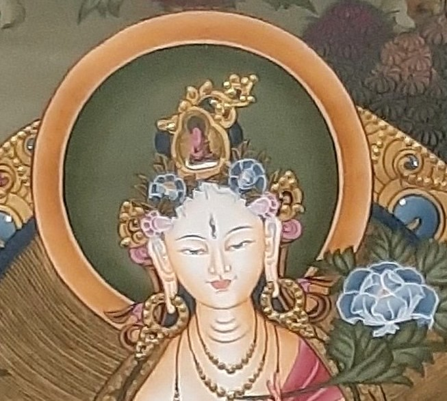 White Goddess Tara Tibetan Thangka Painting for house warming - face zoom