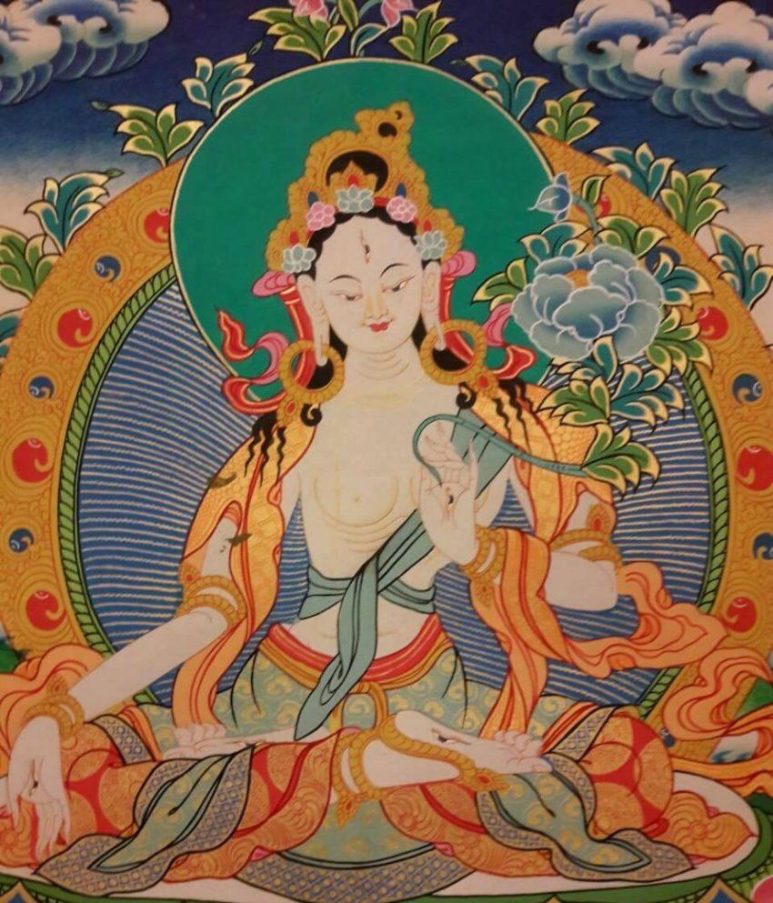White tara tibetan thangka 2