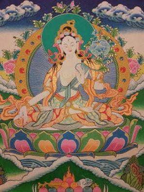 White tara tibetan thangka painting