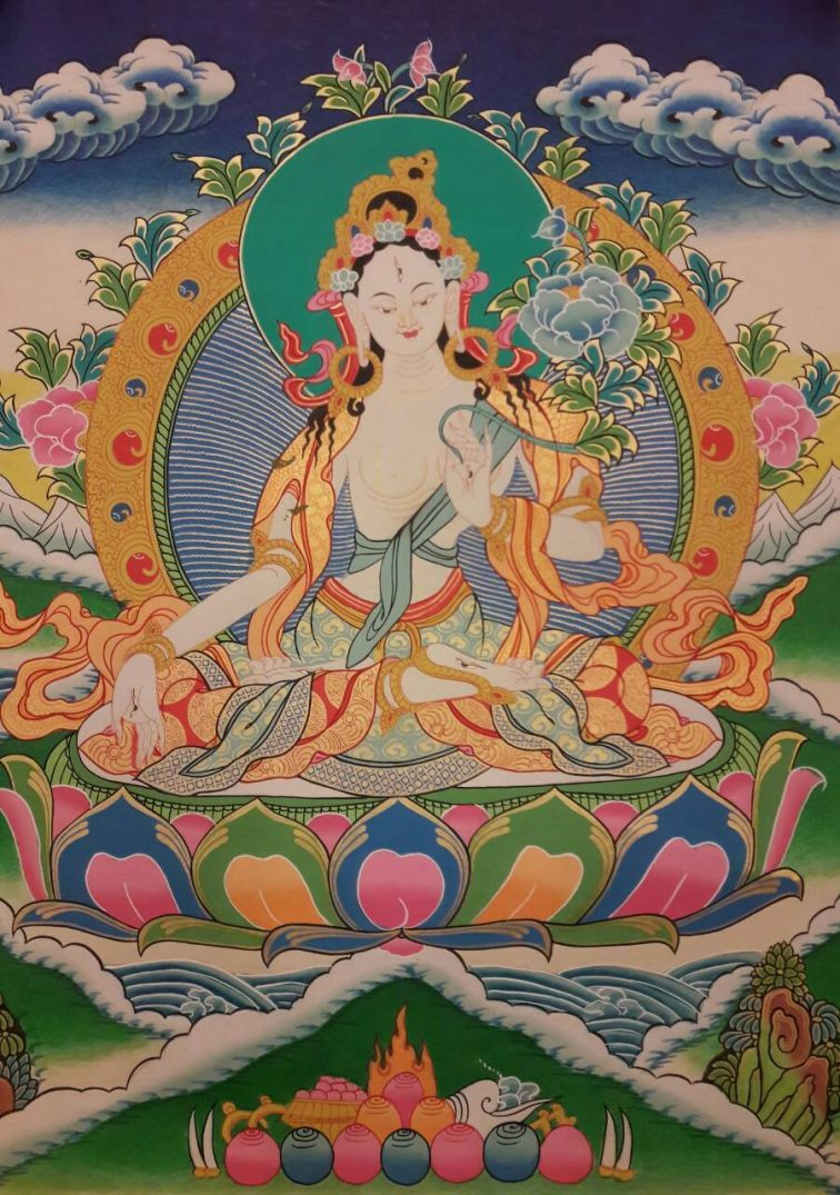 White tara tibetan thangka painting