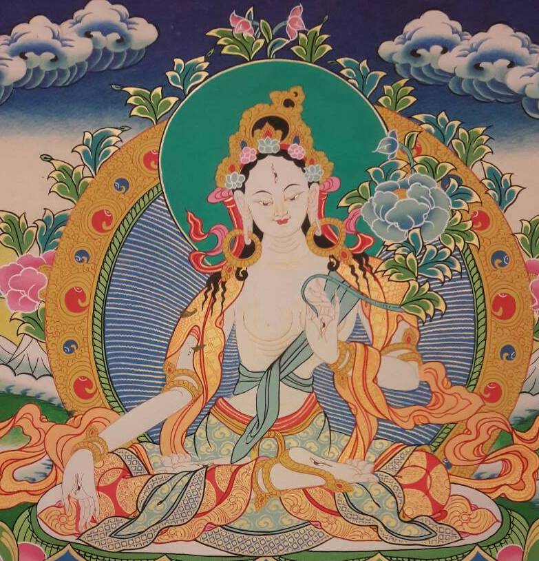 White tara tibetan thangka blue bg 4