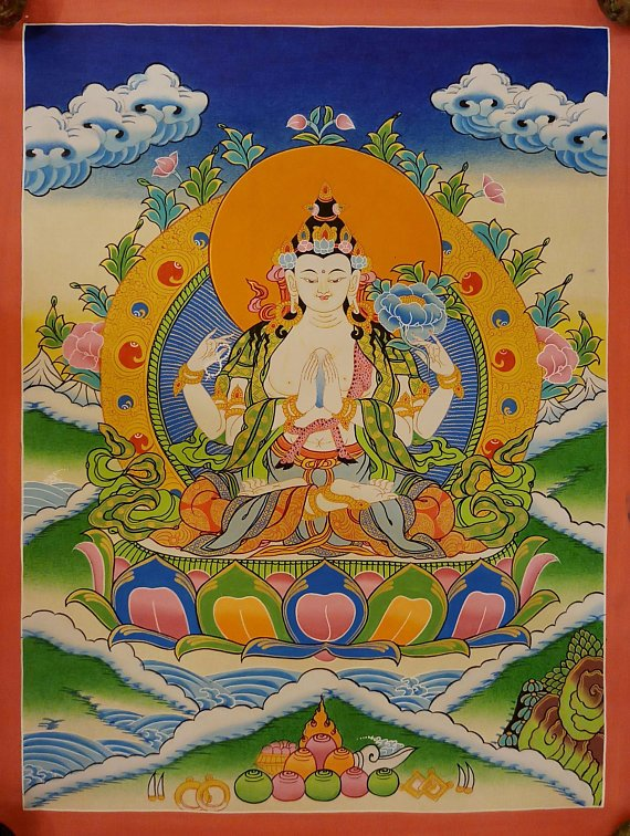 chenrezig tibetan thangka