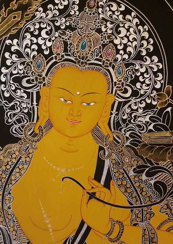 manjushri thangka painting face