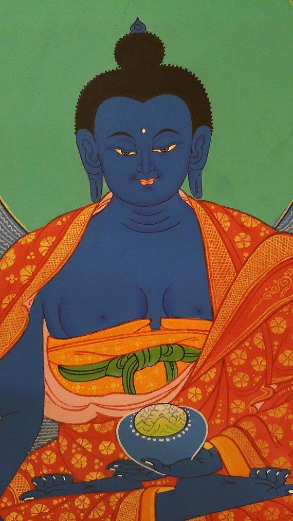 medicine buddha thangka painting face