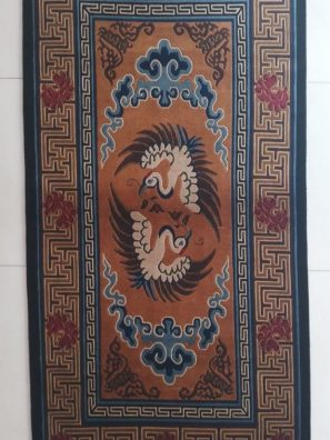 Tibetan Rug Bird Design vertical