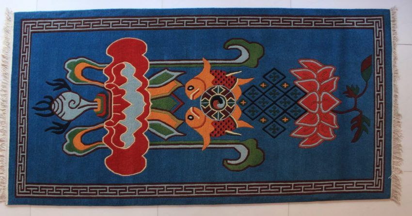 Tibetan Carpet Eight Auspicious Symbols
