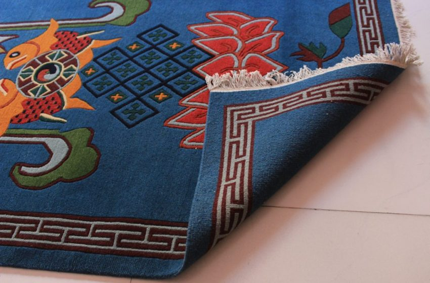 Tibetan Carpet Eight Auspicious backview 1