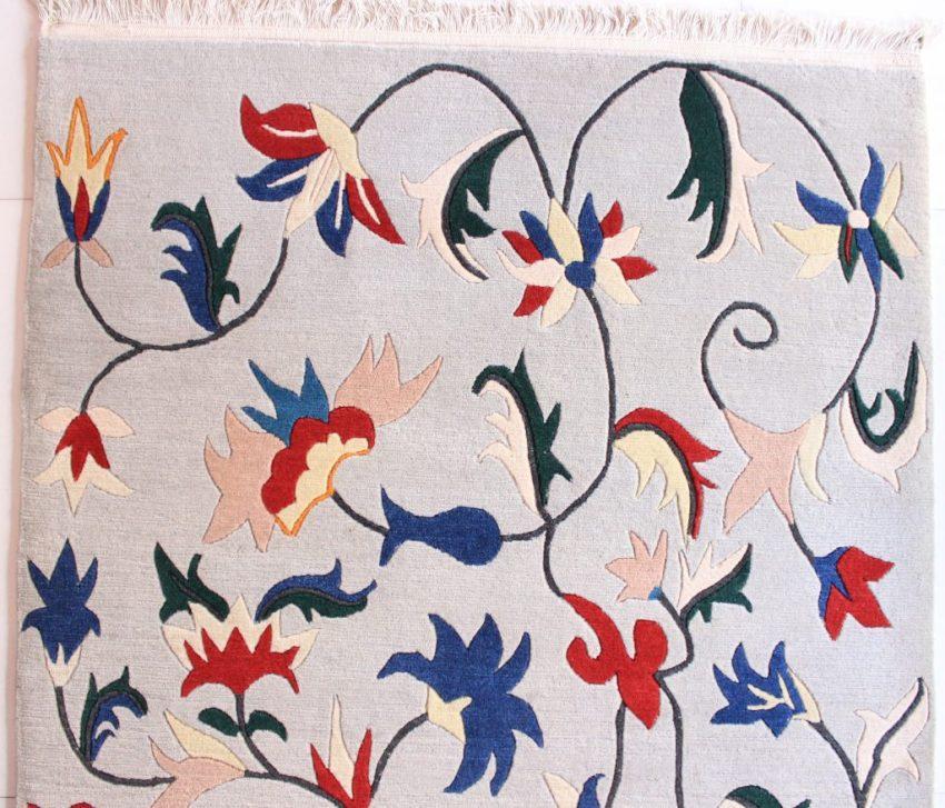 Tibetan Flower Carpet blue red