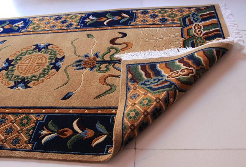 Tibetan mandala lotus carpet back view