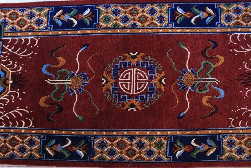 Tibetan mandala lotus rug