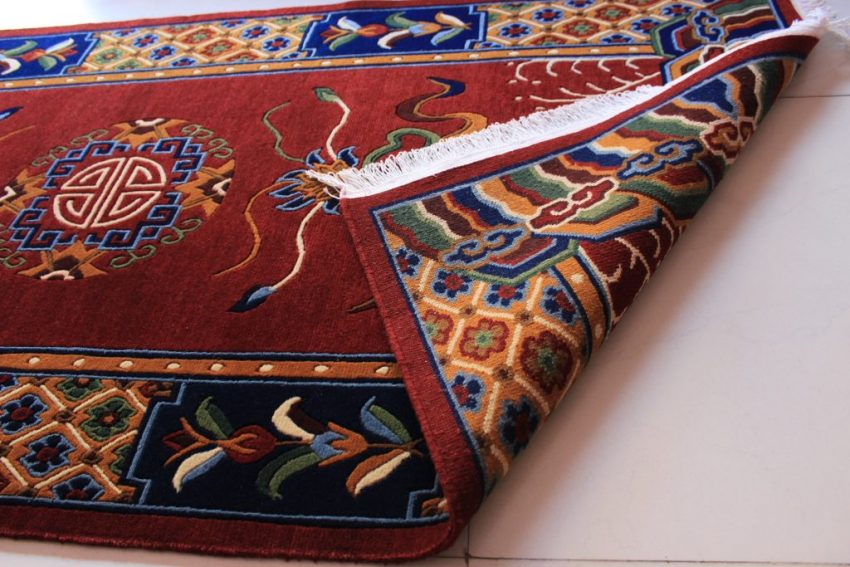 Tibetan mandala lotus rug backview
