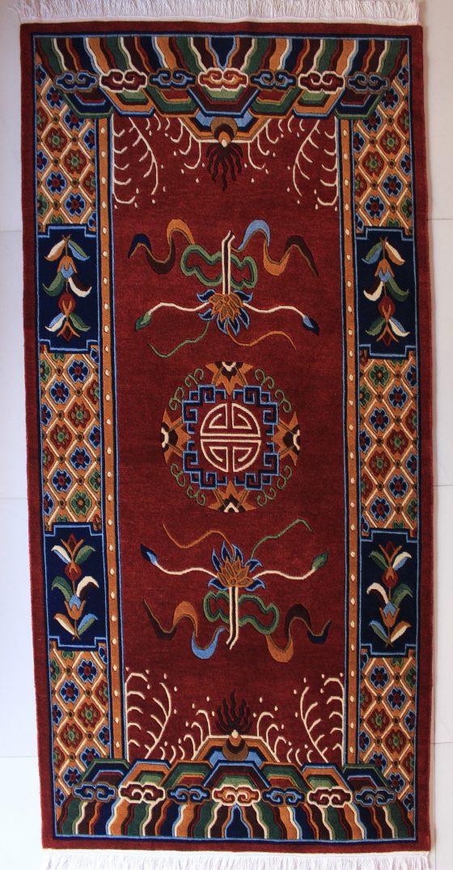 Tibetan mandala lotus rug red