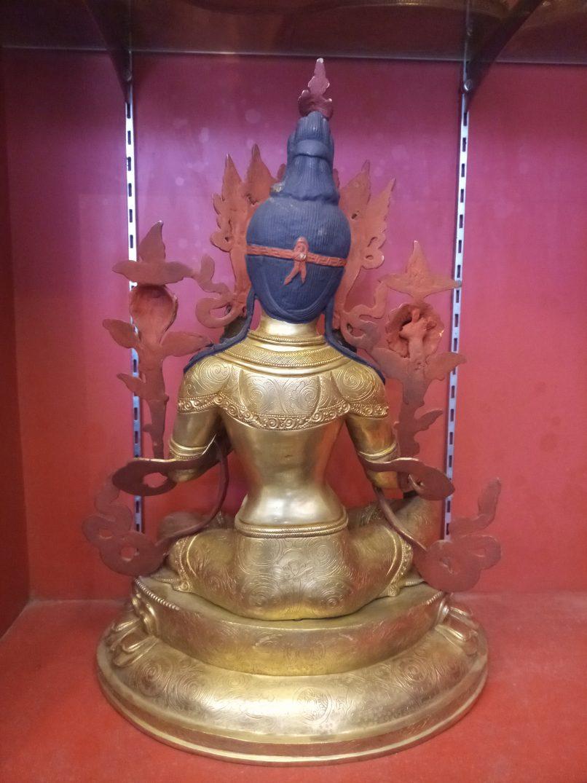 Green Tara Golden Statue back view