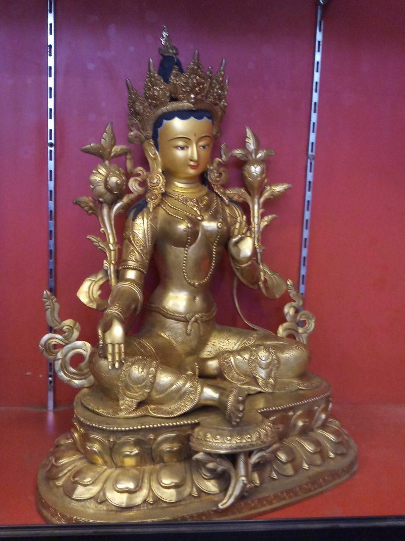 Green Tara Golden Statue side view 1