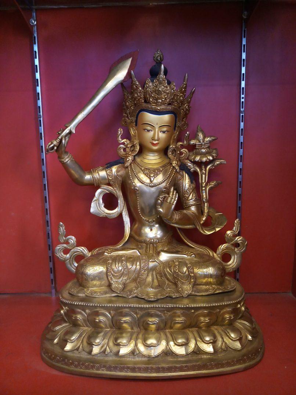 Manjushri Golden Statue side view 1