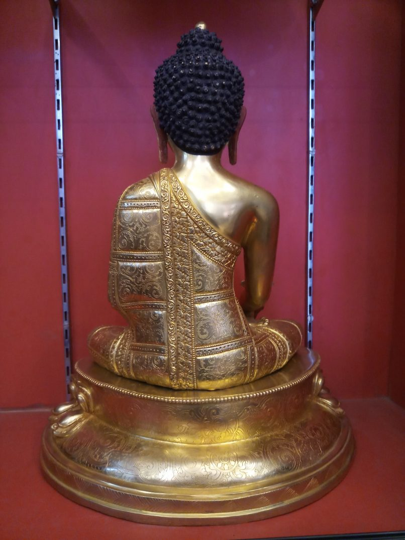 Medicine buddha statue full gold 18 inches full image back view2