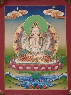 Tibetan Art Decor Chenrezig Thagnka