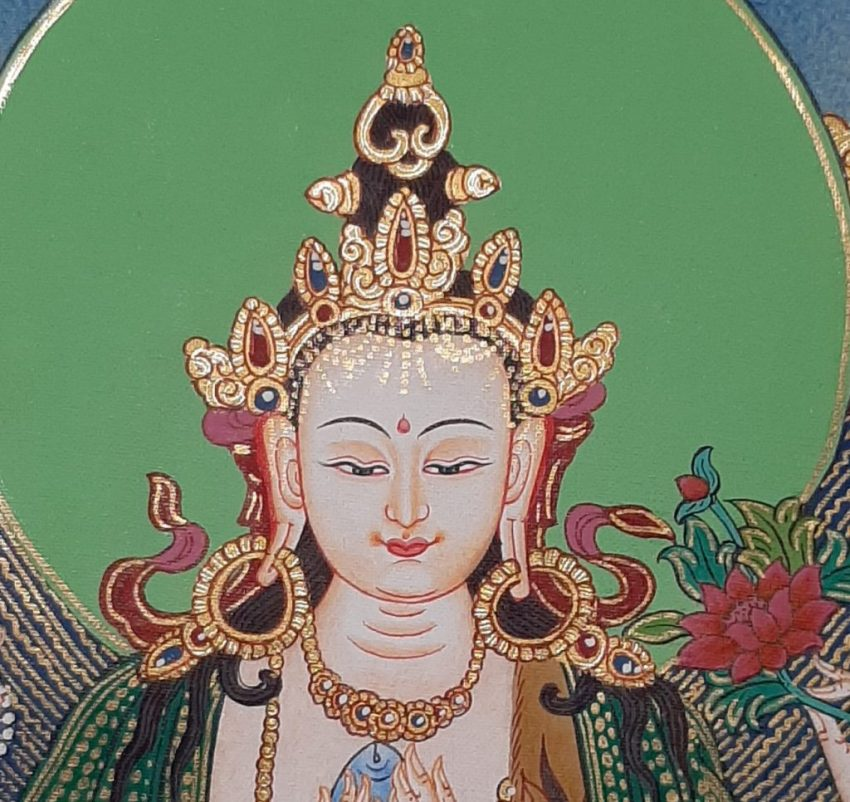 Tibetan Art Decor Chenrezig Thagnka for Altar