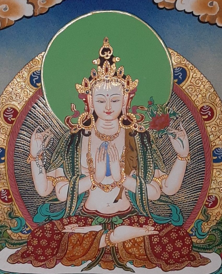 Tibetan Art Decor Chenrezig Thagnka for house warming