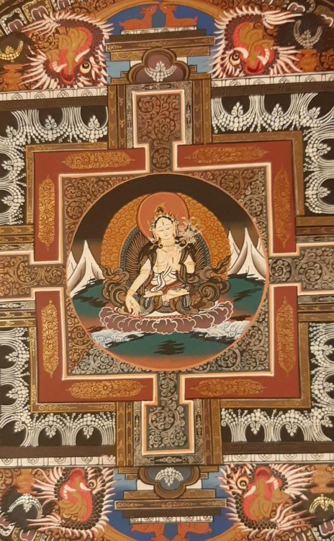 white tara mandala thangka