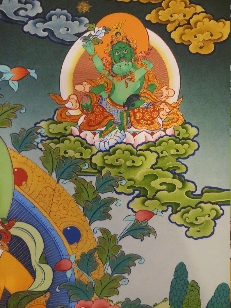 Yellow Dzambala Wall Hanging Thangka
