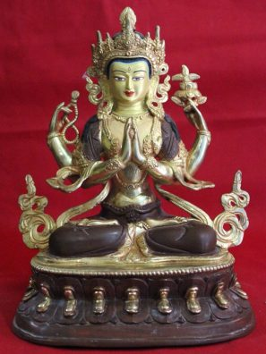 Avalokitesvara Golden Buddha Statue Decor