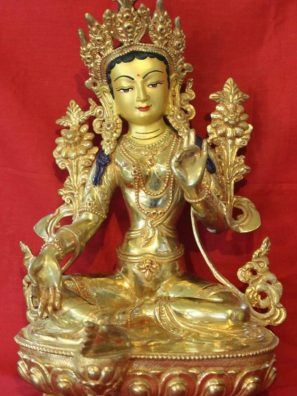 Green Tara Gold Buddha Statue - Meditational Deco Gifts For Friends
