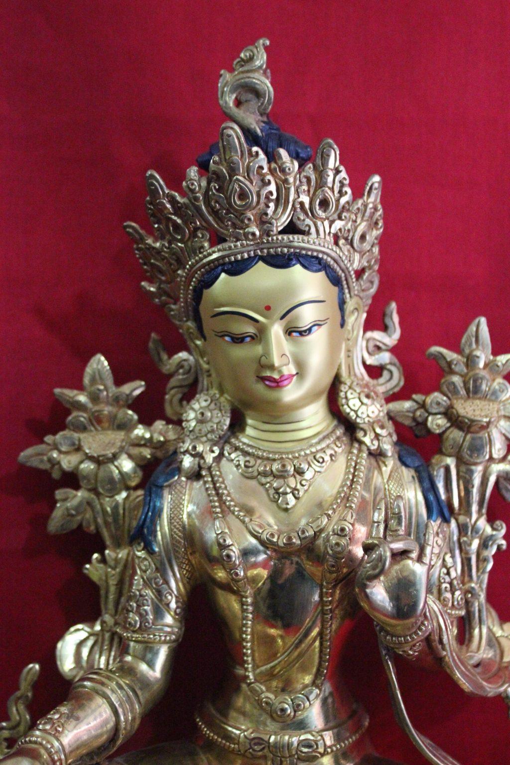 Green Tara Golden Statue Home