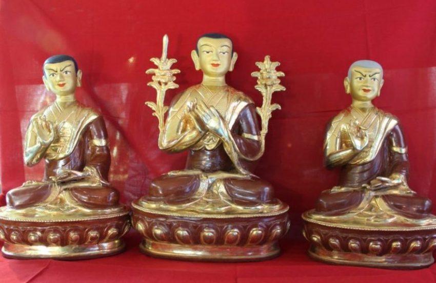 Tsongkapa Golden Buddha Statue Set