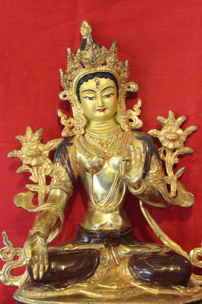 White Tara Golden Buddha Statue deco