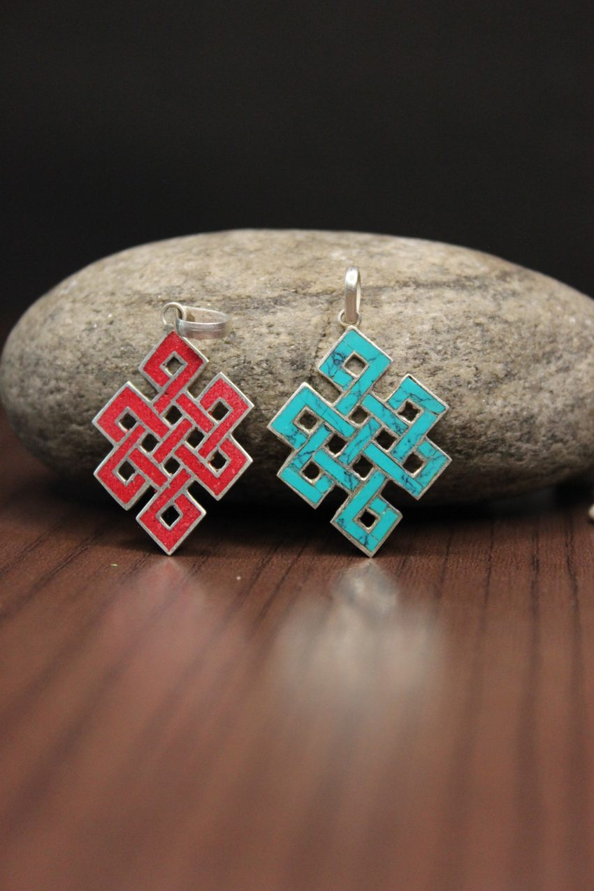 Blue Love Knot Pendants red and blue