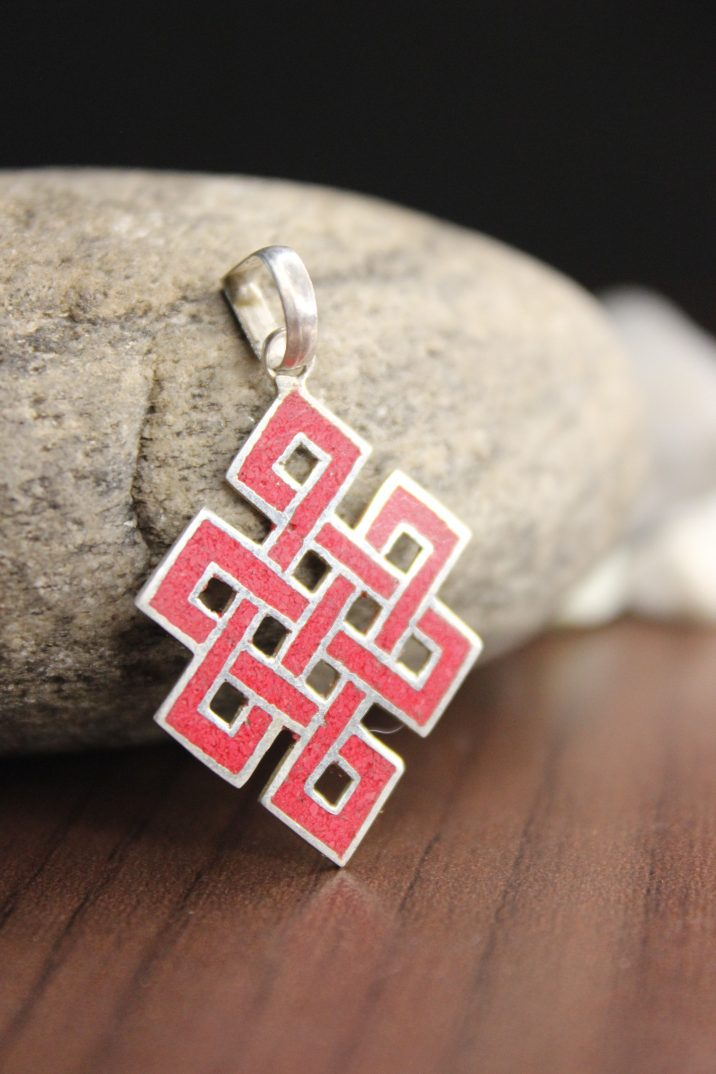 Red love knot pendant