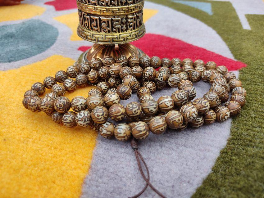 Tibetam Om bone prayer mala deco