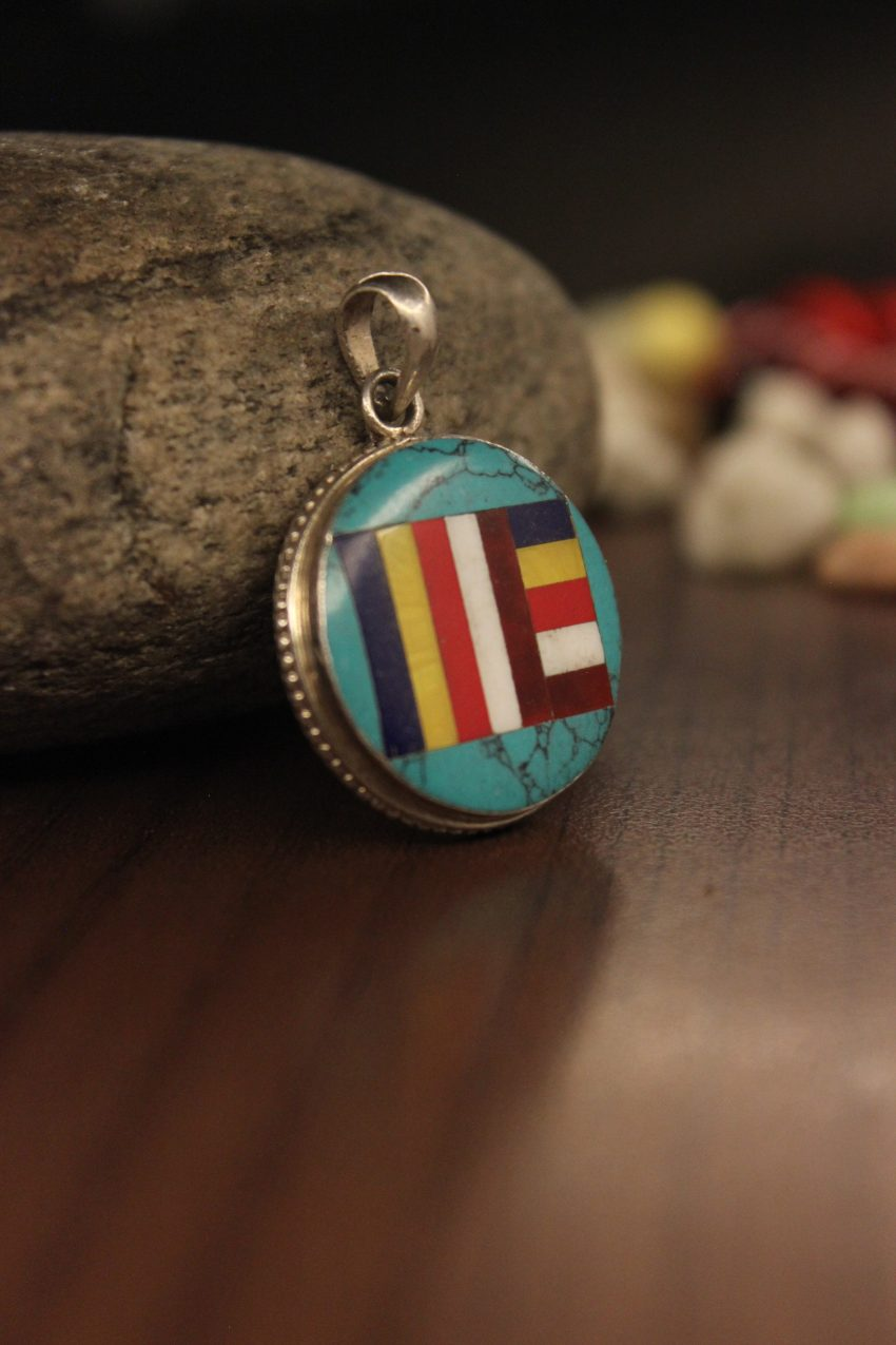 Buddhist Flag Turquoise Silver Pendant - New Years Gifts For Buddhist Friends