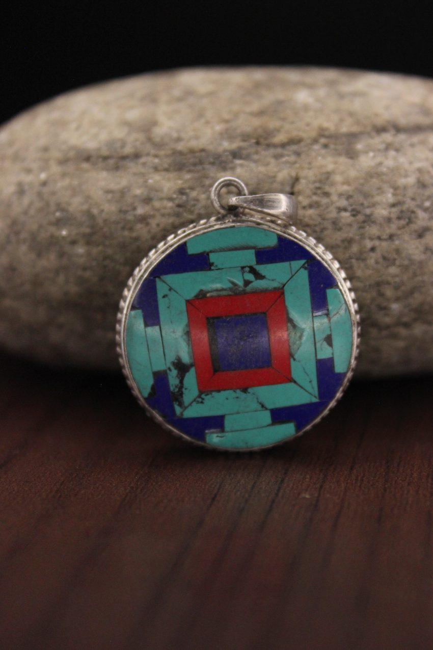 Turquoise Coral Lapis Silver Mandala Pendant
