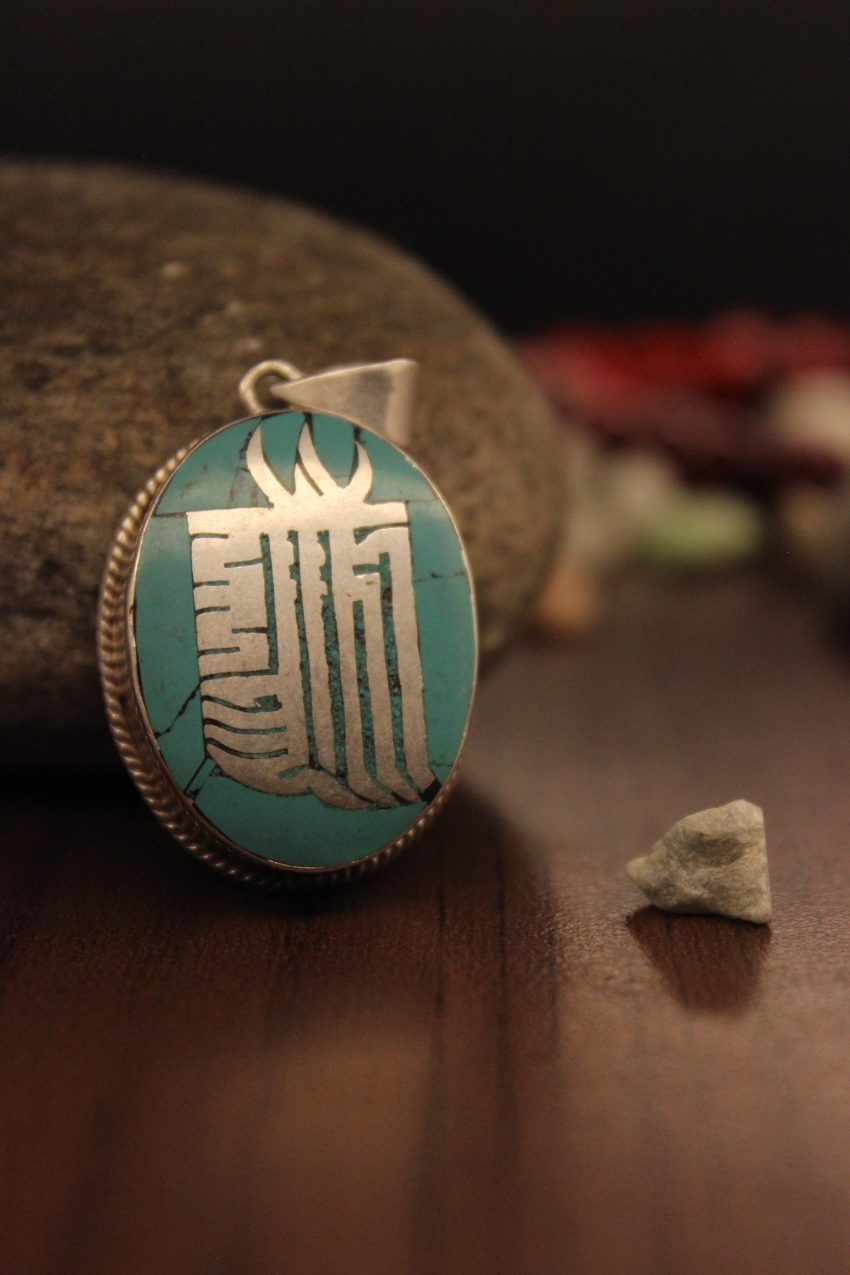 Silver Turquoise Newari Om