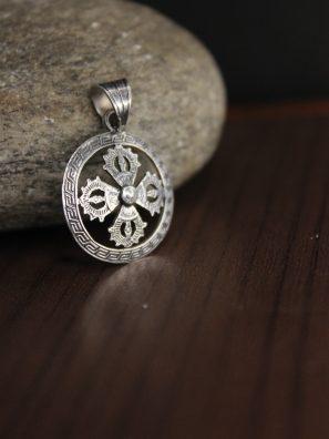 Double Dorje Silver pendant