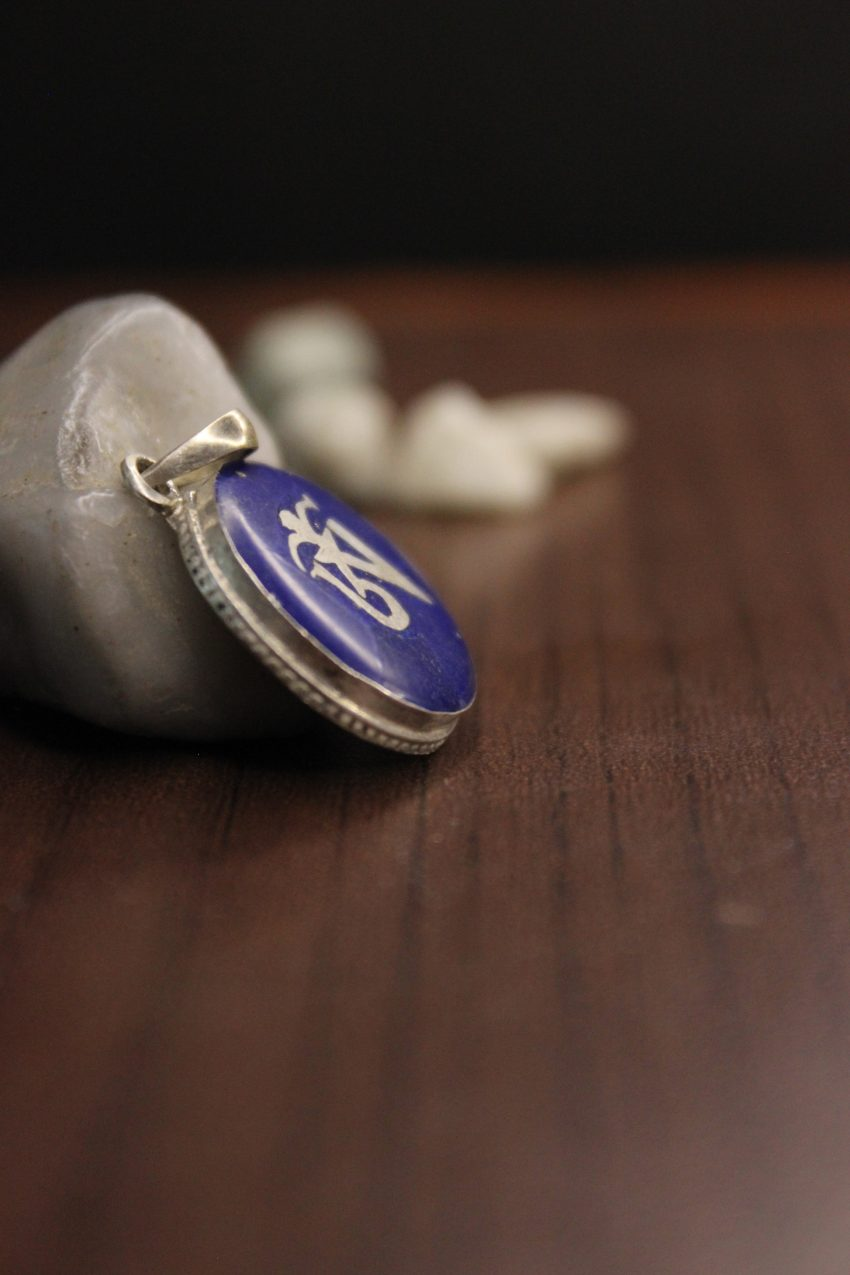 Lapis Silver Tibetan Om Pendant