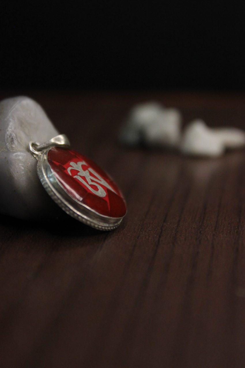 Coral Silver Tibetan Om Pendant