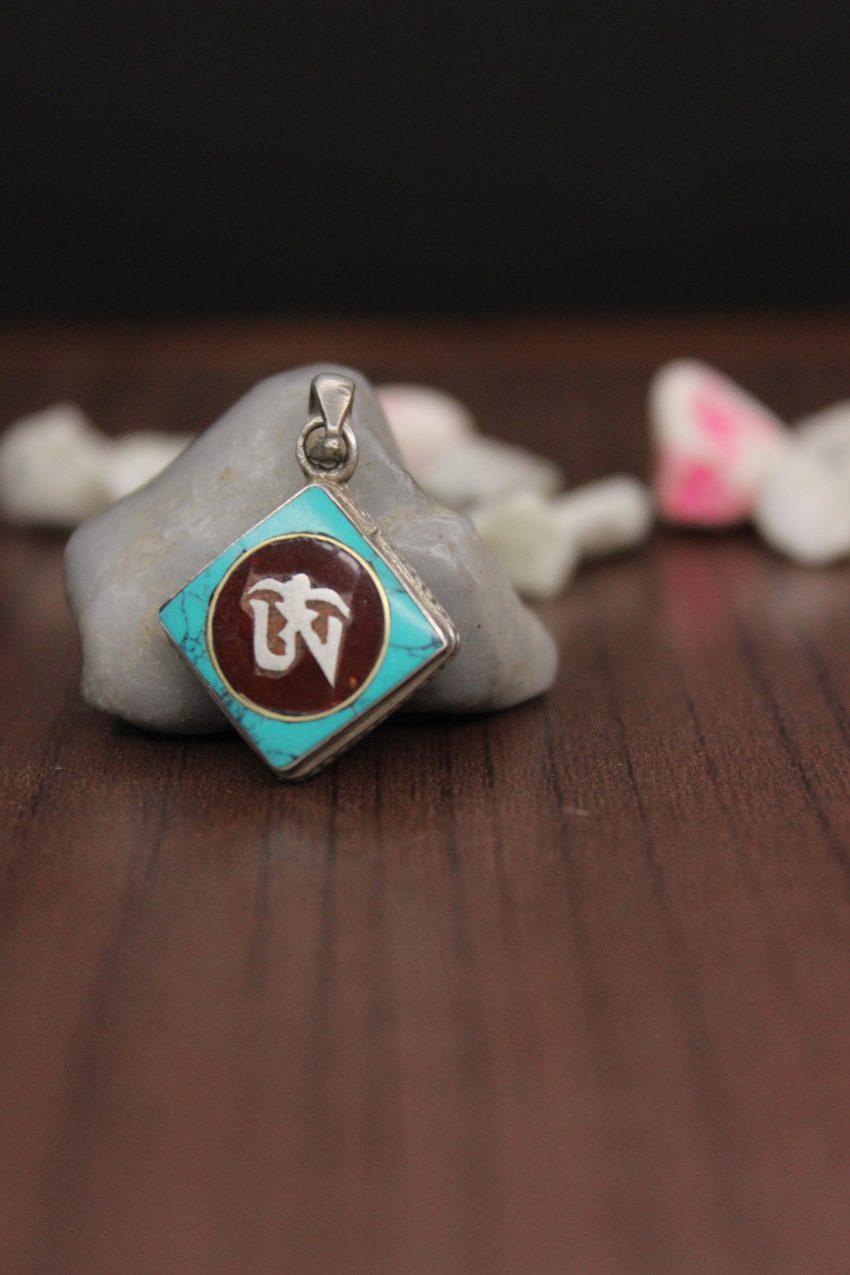 Turquoise Coral Tibetan Om Pendant