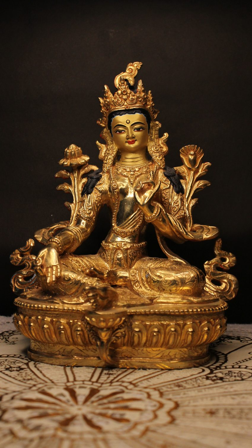 Golden Green Tara Buddha Statue
